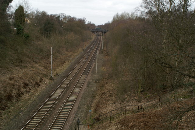Looking due North up the West Coast Main Line on Wigan Lane (A49)