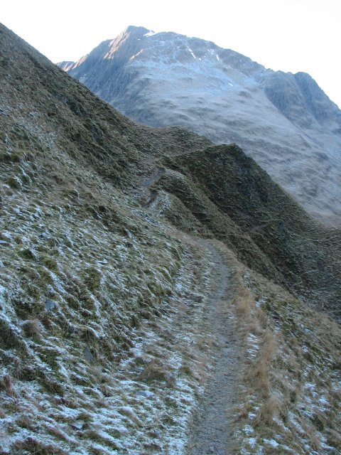Path on a steep hillside