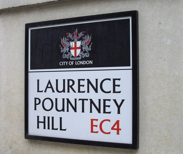 Street sign 'Laurence Pountney Hill'