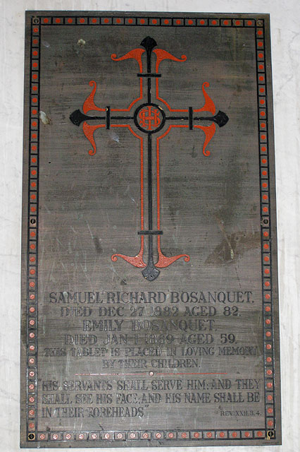 Memorial to members of the Bosanquet family
