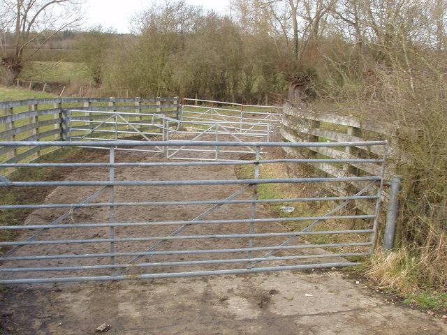 Gates form stock pens, near Holton