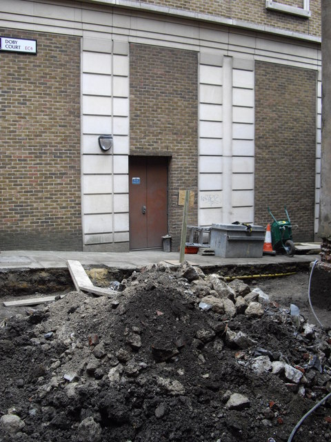 Builders rubble at rear of St James Garlickythe Church