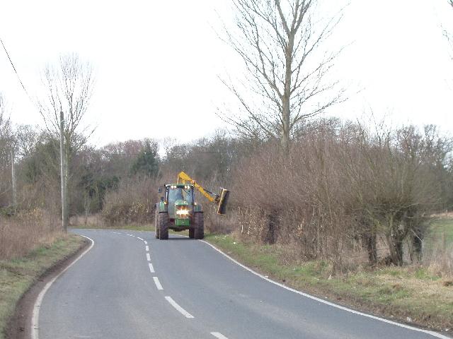 Cutting roadside hedges, Holton