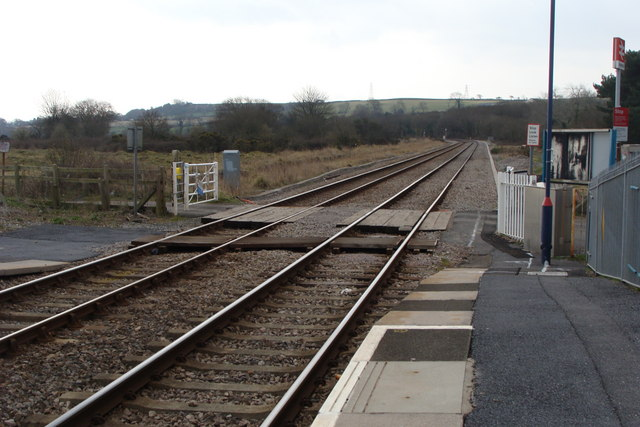 The line to Llanelli from Llangennech station