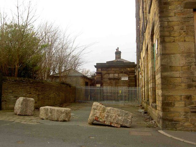 The gate to Newsome Mills Est. 1827 from Ruth Street