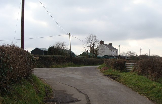 Road junction and farm