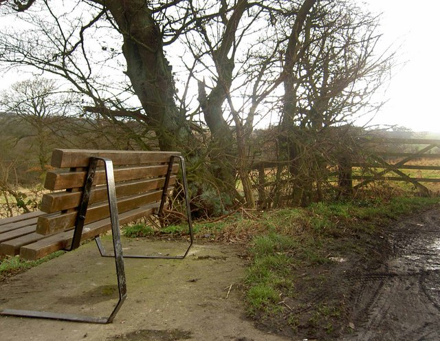 Lumb Lane bench and gate to footpath