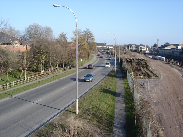 Chichester - view east along Via Ravenna from the railway footbridge