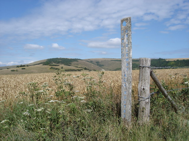 Bridleway marker post - Windover Hill in the background