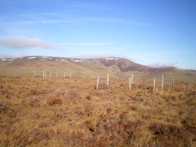 Fenced enclosures beneath Post Gwyn
