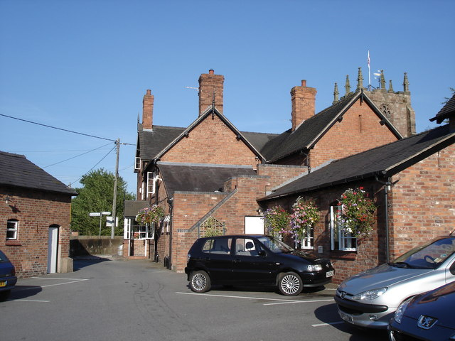 Bunbury - rear view of Dysart Arms with St Boniface's Church behind