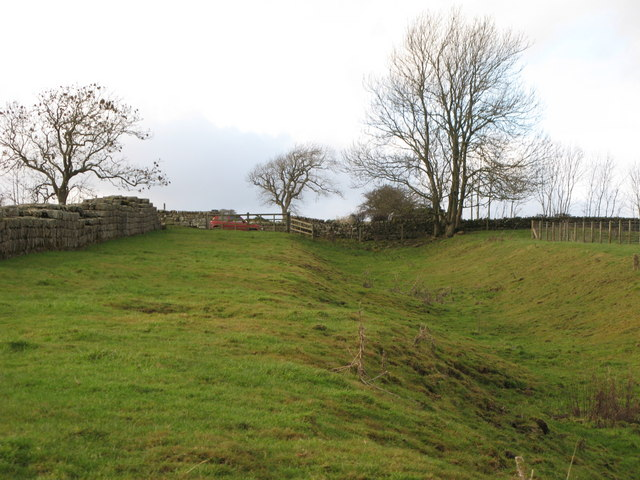 Hadrian's Wall and its north defensive ditch west of Black Carts