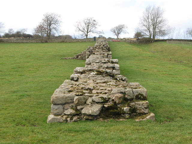 Hadrian's Wall and its north defensive ditch at Black Carts
