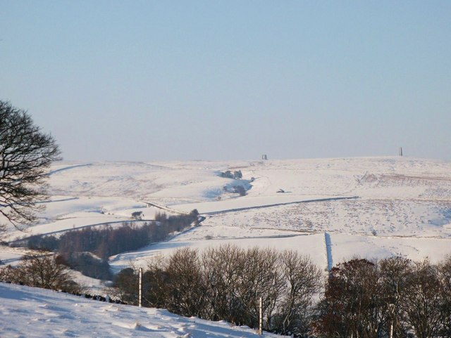 Snow around the Allendale lead smelting flue chimneys