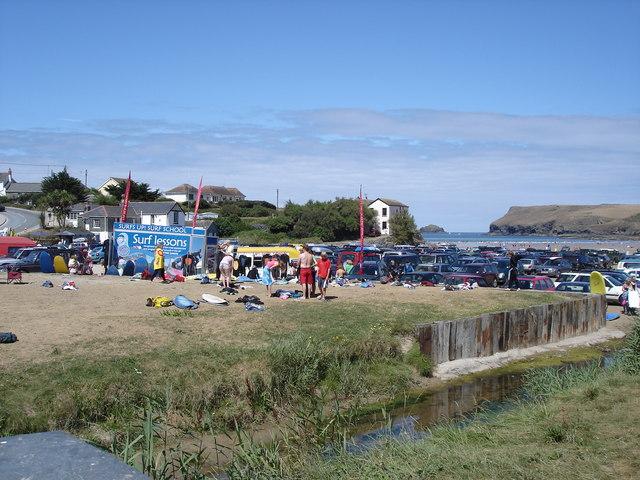 Polzeath - beach, cars and surfers