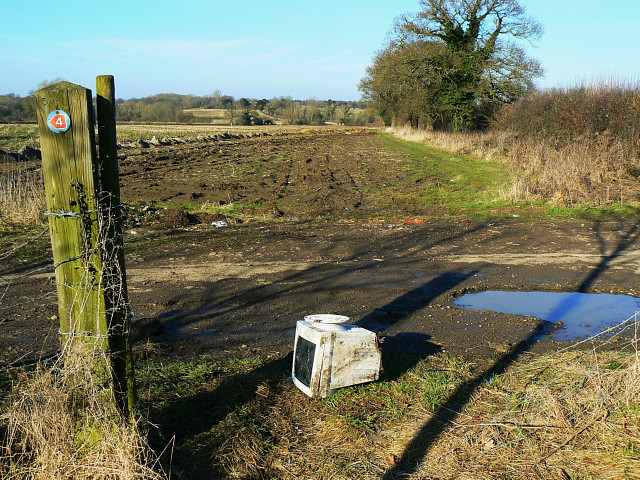 Farmland, a cycle route and a monitor, near Compton Bassett