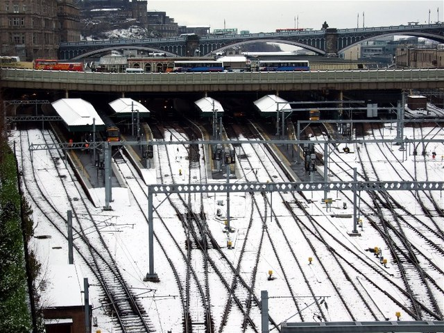 Waverley Station and 'the bridges' in the snow