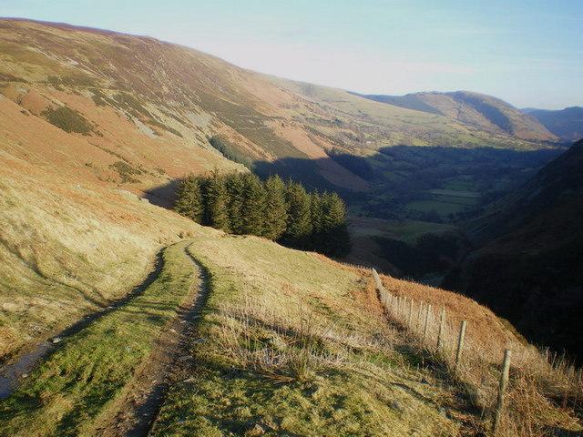 Bridleway above the Nant Llwyn-gwern