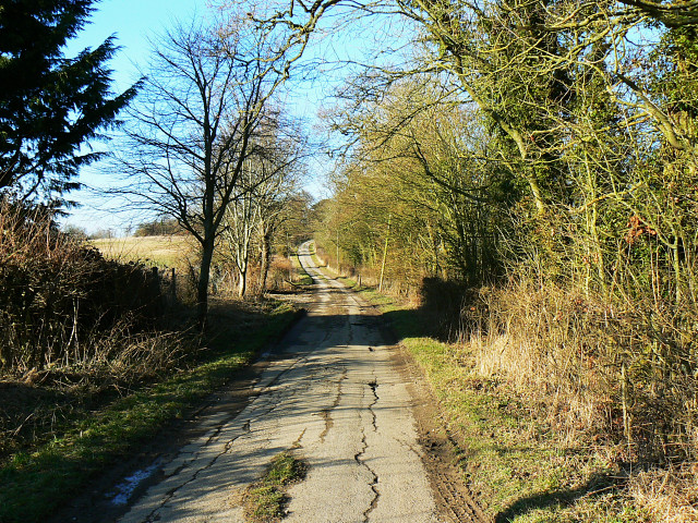 The road to Freeth Farm, north of Compton Bassett