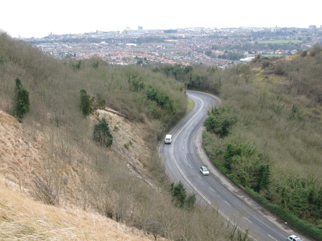 Looking down on to Canterbury Road from Crete Road East