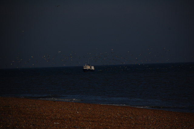 Fishing Boat  off  the coast.