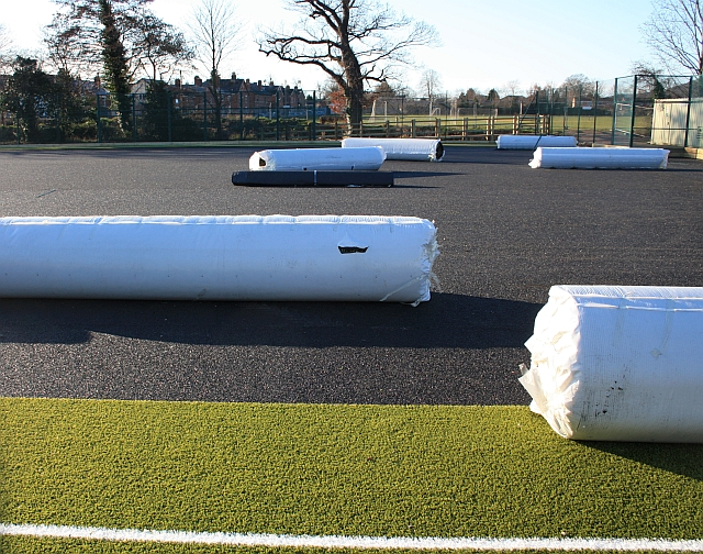 Rolls of synthetic grass, Chase High School