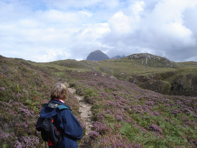Path above the Falls of Kirkaig - Suilven in the distance