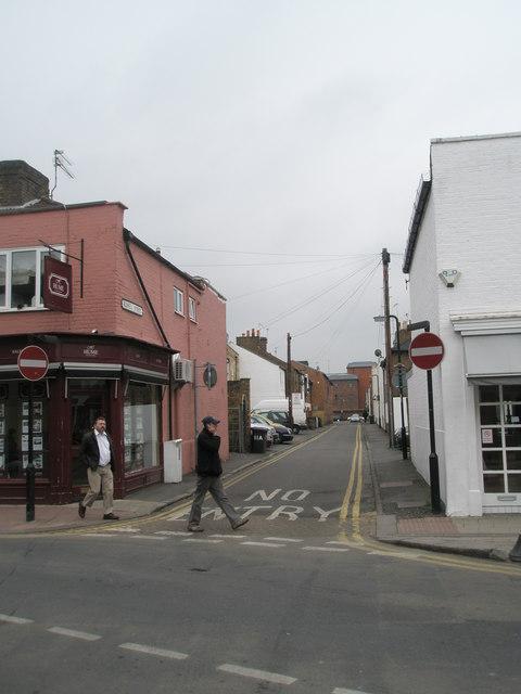 Looking eastwards from St Leonard's Road along Russell Street