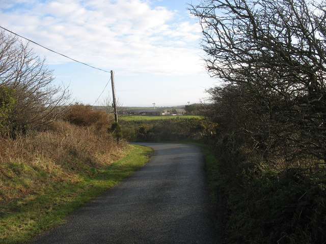 Bend in a minor road on the south western slopes of Mynydd Parys mountain