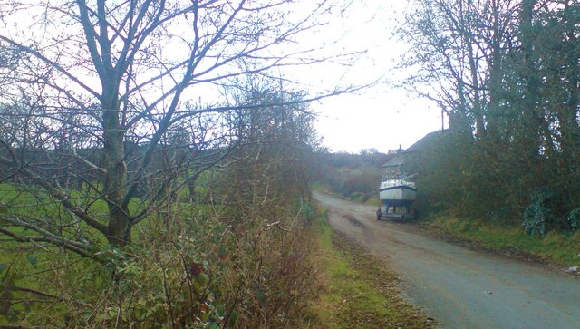 Lane to Longford House, Llanddewi Velfrey parish