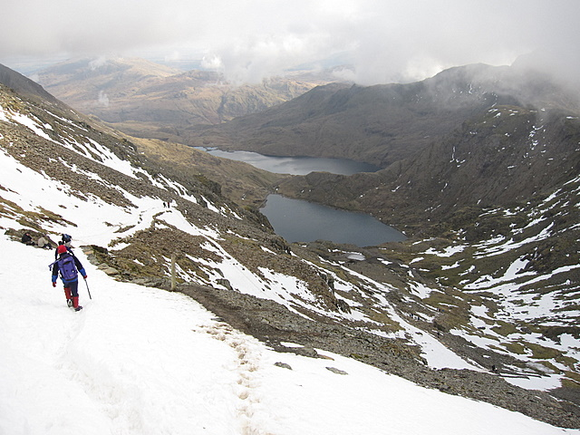 View from the Pyg track towards Glaslyn