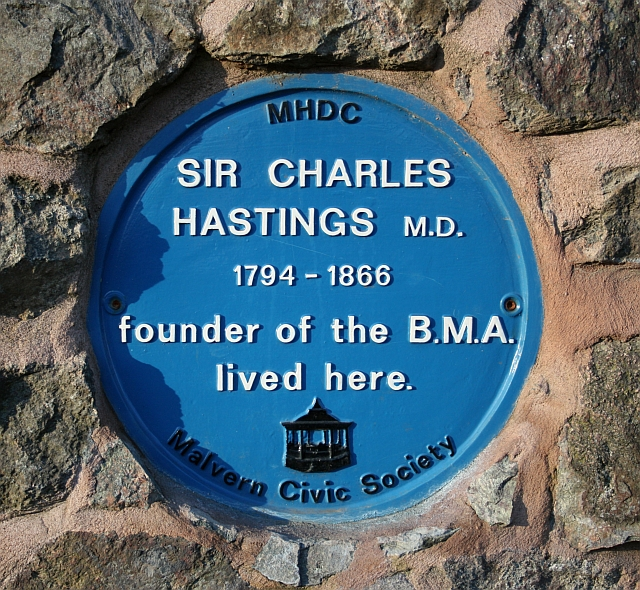 Plaque on Sir Charles Hastings' house