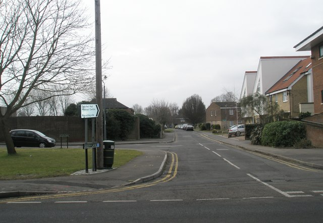 Looking southwest down Green Lane