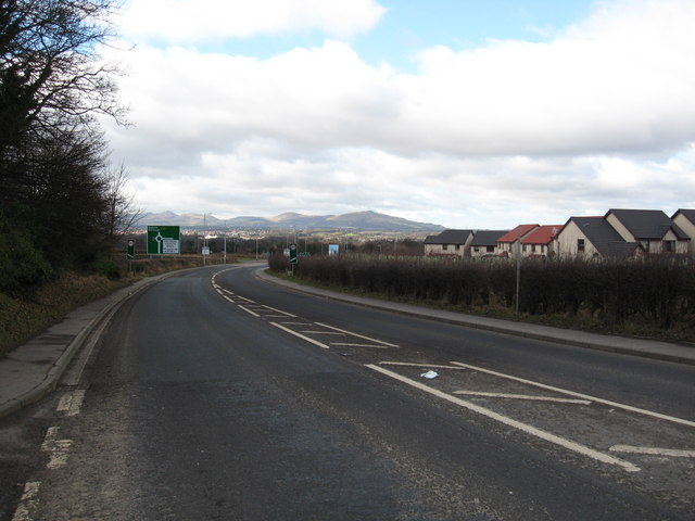 The A68 approaching Dalkeith