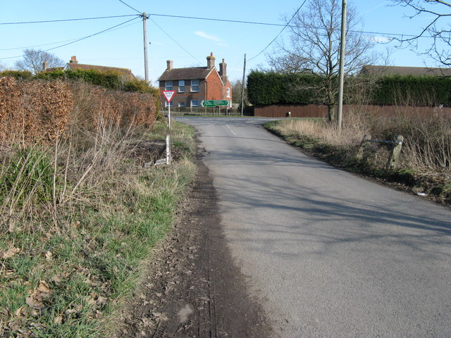 Country lane joining the A22