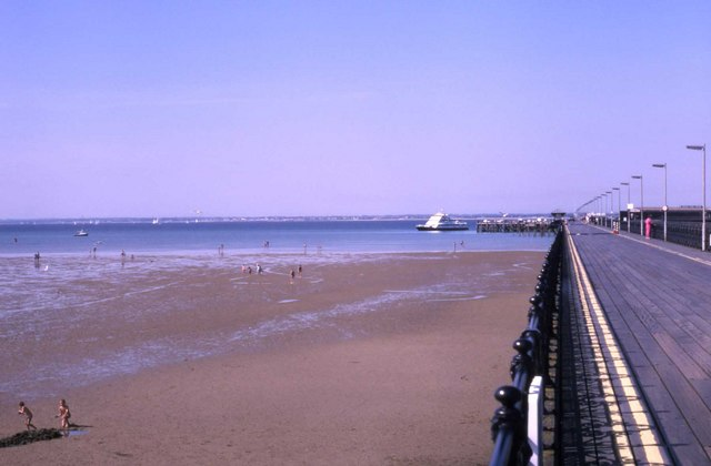 View of Ryde beach and the ferry from the pier