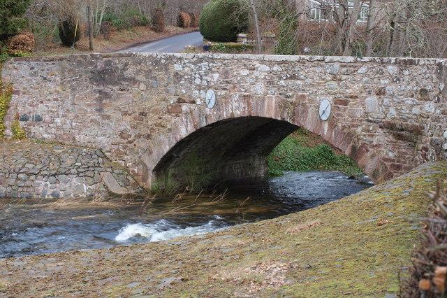 Melgam Water flows under the road Bridge at Bridgend of Lintrathen Village