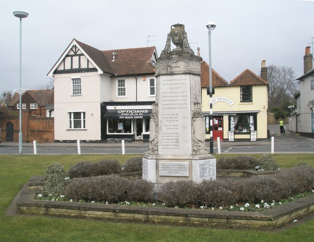 Datchet War Memorial with the Ecumenical Centre in the background
