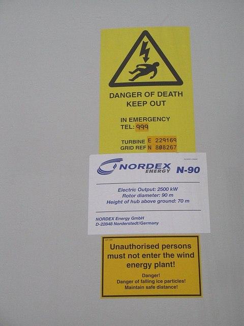 Sign on wind turbine