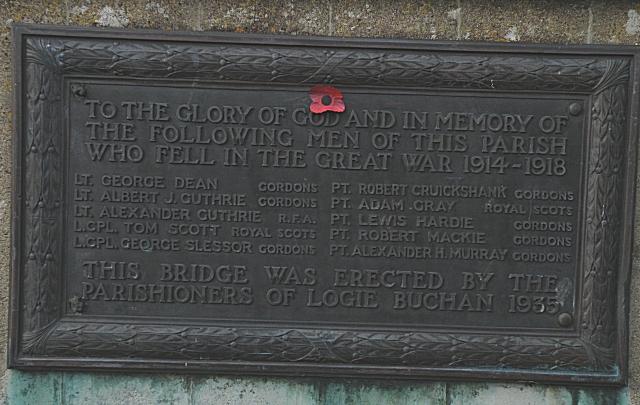 Plaque on Logie Buchan Bridge (1)