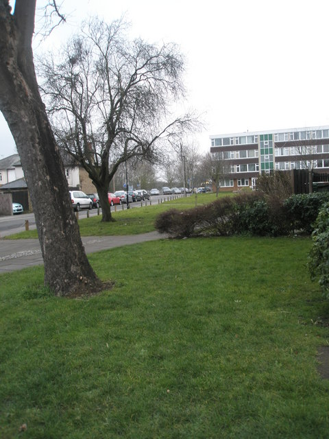 Grassy area just past Atherton Court