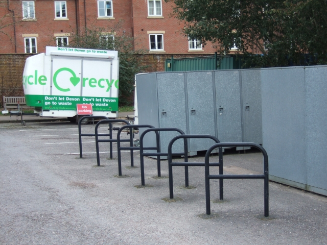 Cycle racks and lockers at County Hall Exeter