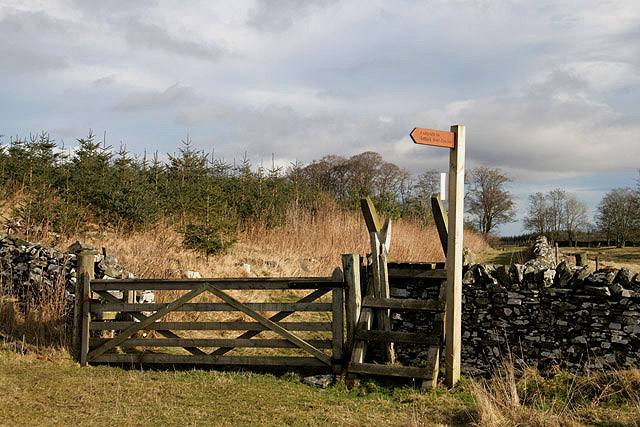 A ladder stile and signpost at Gala Rig