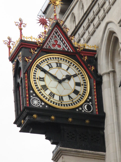 Clock on the Royal Courts of Justice, Strand, WC2