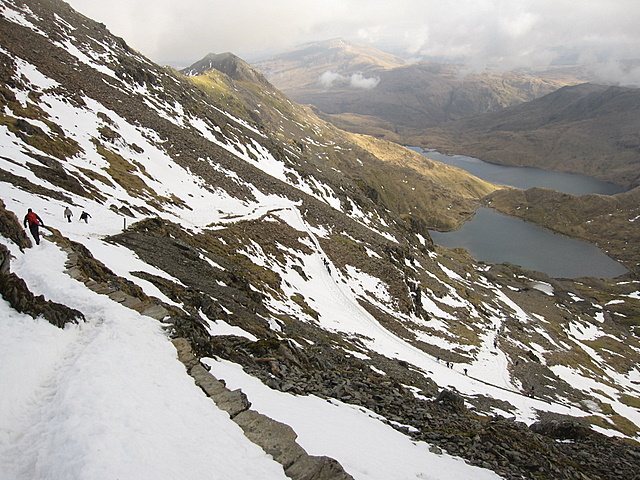 View down the Pyg track towards the Zig-Zags