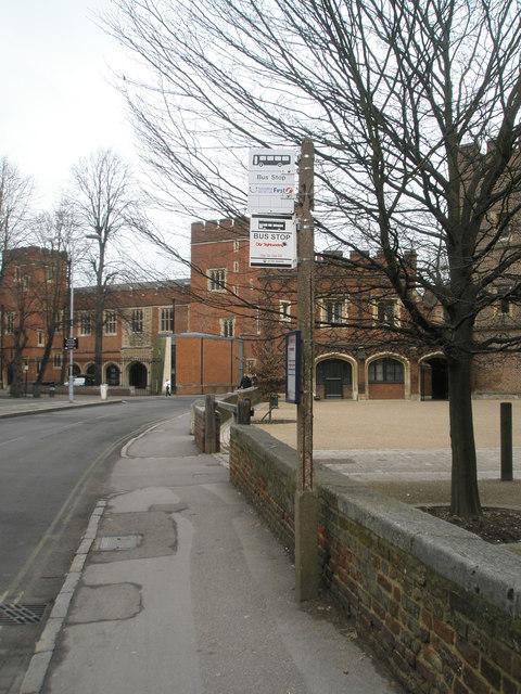 Bus stop outside Eton College