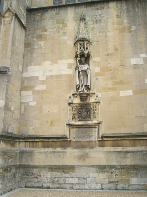 Statue of Bishop Waynflete on the wall of Eton College Chapel