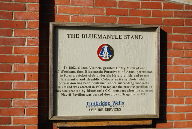 Plaque, Bluemantle Stand, Nevill Ground