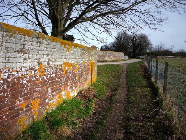 Footpath by the waterworks wall