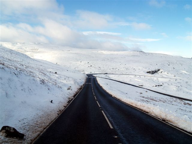 Snowy road scene